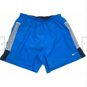 Nike Mens Lined Woven Athletic Running Shorts Blue